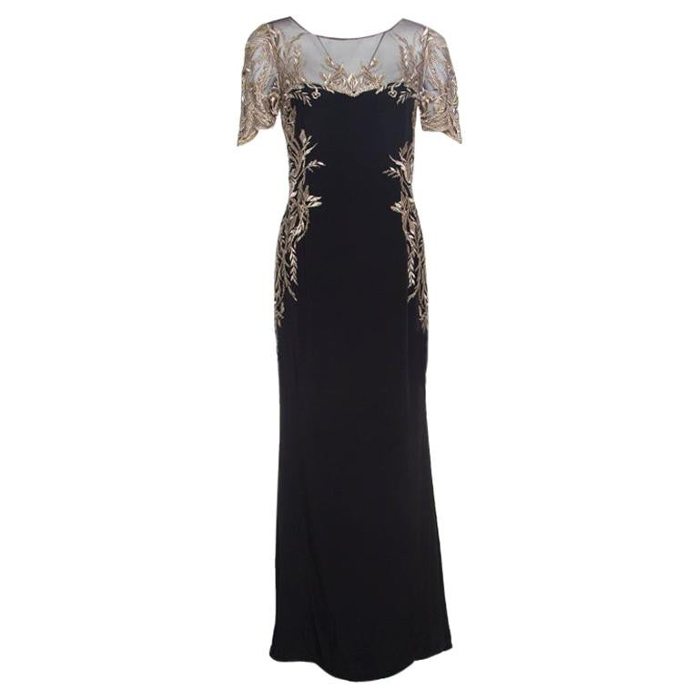 efbf9a19 Notte by Marchesa Black Silk Lurex Floral Embroidered Evening Gown S For  Sale