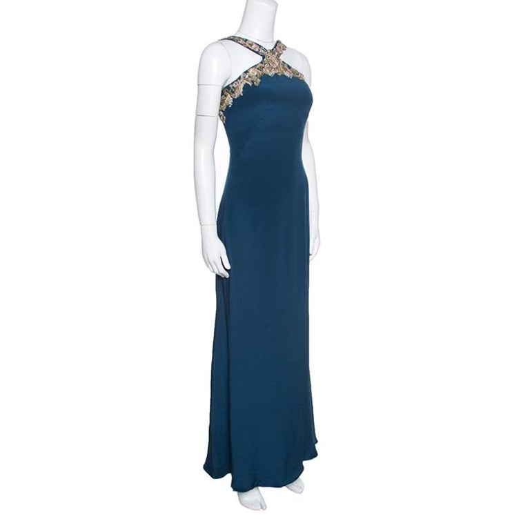 Notte by Marchesa Peacock Blue Embellished Silk Maxi Dress S In Good Condition For Sale In Dubai, Al Qouz 2