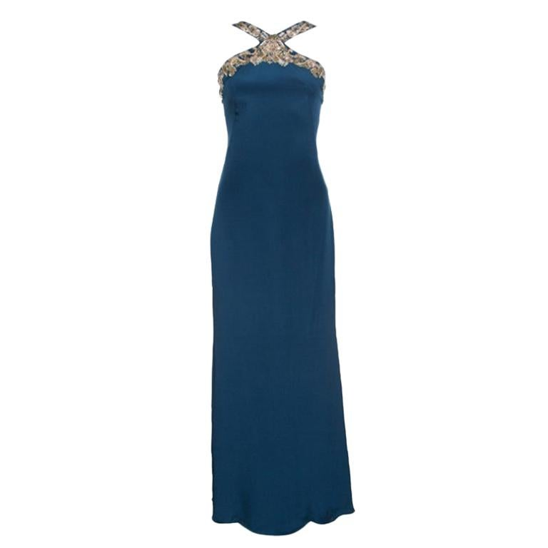 Notte by Marchesa Peacock Blue Embellished Silk Maxi Dress S For Sale