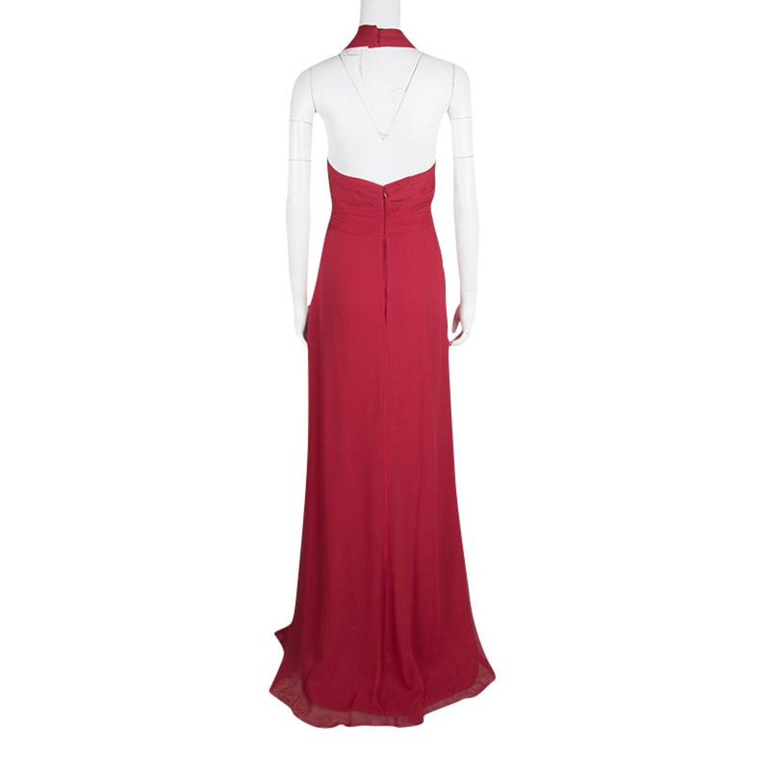 368f980824 Notte by Marchesa Red Silk Chiffon Halter Evening Gown L For Sale at 1stdibs
