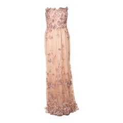 Notte Peach Floral Embroidered Sequin Embellished Detail Strapless Evening Gown