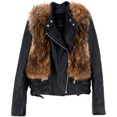 Nour Hammour Flashing Lights Fur-Trimmed Leather Jacket SIZE FR38/ US6