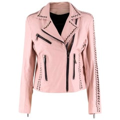 Nour Hammour Vinyl Whip Stitch Leather Moto Jacket - Size US 4