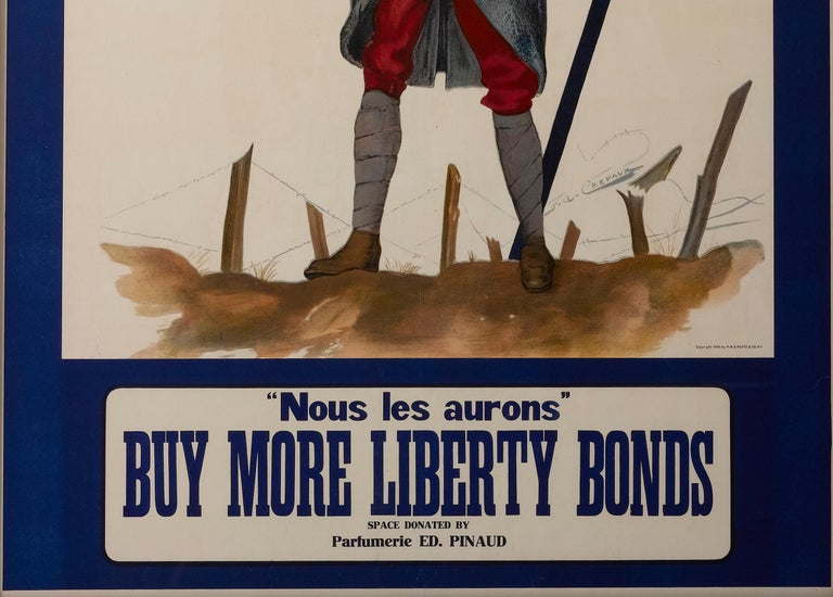 Nous Les Aurons / Buy More Liberty Bonds WWI French Poster, circa 1918 In Good Condition For Sale In Colorado Springs, CO