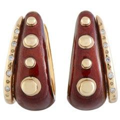 Nouvelle Bague 18 Karat Gold Diamond and Burgundy Enamel Oval Hoop Earrings