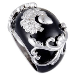 Nouvelle Bague Diamond Pave and Black Enamel White Gold Flower Bombe Ring
