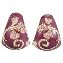 Nouvelle Bague 18 Karat Gold Enamel Sapphire and Diamond Earrings
