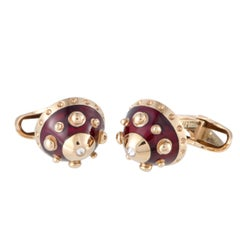 Nouvelle Bague 18 Karat Rose Gold Diamond and Burgundy Enamel Round Cufflinks