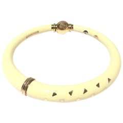 Nouvelle Bague Enamel Gold and Silver Ladies Bangle B515BT
