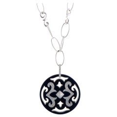 Nouvelle Bague Gold Diamond Pave and Black Enamel Round Pendant Long Necklace