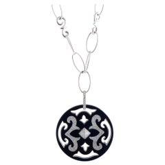 Nouvelle Bague Gold Diamond Pave and Black Enamel Round Pendant Long Necklace