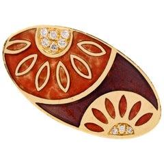 Nouvelle Bague India Preziosa 18 Karat Gold Pave Diamond Enamel Floral Ornamen