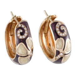 Nouvelle Bague Petali 18 Karat Gold Diamond Pave and Aubergine Enamel Oval Hoop