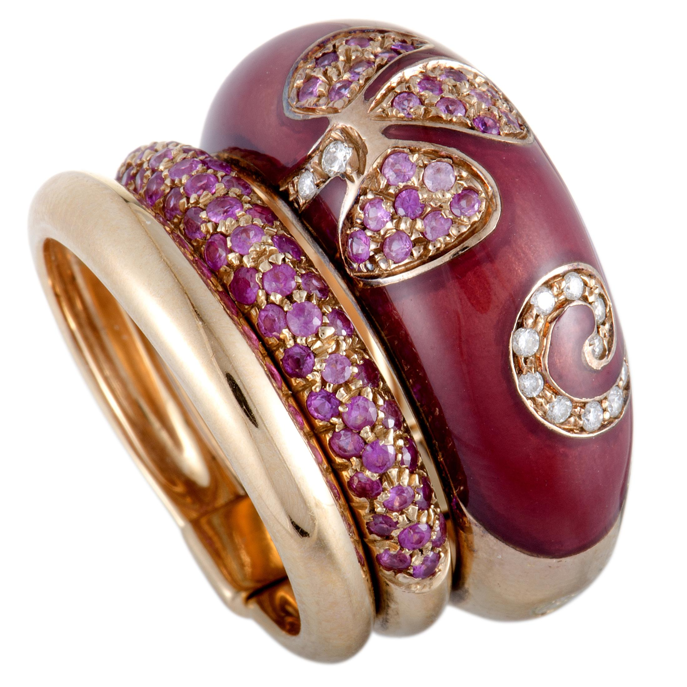 2b63b3381fb72e Nouvelle Bague Petali 18 Karat Rose Gold Diamond and Pink Sapphire Pave Ring  at 1stdibs