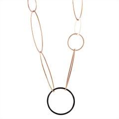 Nouvelle Bague Sterling Silver Ivory and Black Enamel Large Link Long Necklace