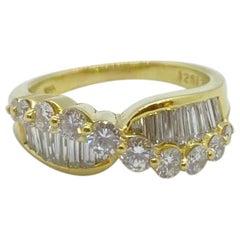 Nova 18 Karat Yellow Gold 1.93 Carat Round and Baguette Diamond Ring
