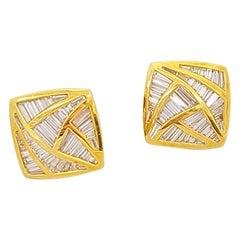 Nova 18 Karat Yellow Gold, 5.29 Carat Invisibly-Set Diamond Geometric Earrings
