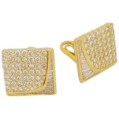 Nova 18 Karat Yellow Gold, 6.88 Carat Diamond Square Shaped Earrings
