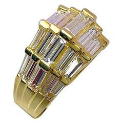 Nova 18 Karat Yellow Gold and 4.35 Carat Diamond Baguette Ring