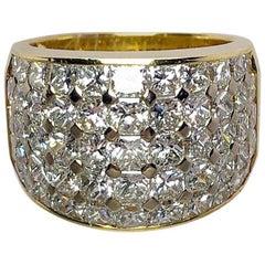Nova 18 Karat Yellow Gold and 5.16 Carat Princess Cut Diamond Band Ring