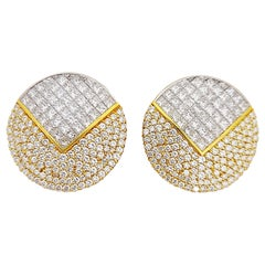 Nova 18 Karat Yellow Gold and Platinum 14.57 Carat Diamond Earrings