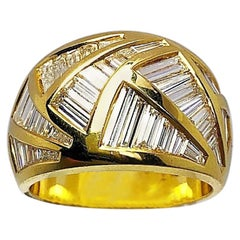 Nova 18 Karat Yellow Gold and Tapered Baguette Diamond 2.88 Carat Ring