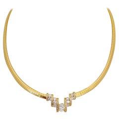 Nova 18kt Yellow Gold, 1.73ct. Oval & Round Diamond Collar Necklace