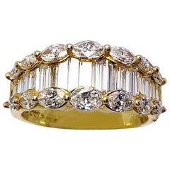 Nova 18 Karat Yellow Gold, 2.33 Carat Baguette and Marquise Diamond Ring
