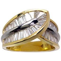 Nova 18 Karat Yellow Gold and Platinum 2.75 Carat Diamond Baguette Ring