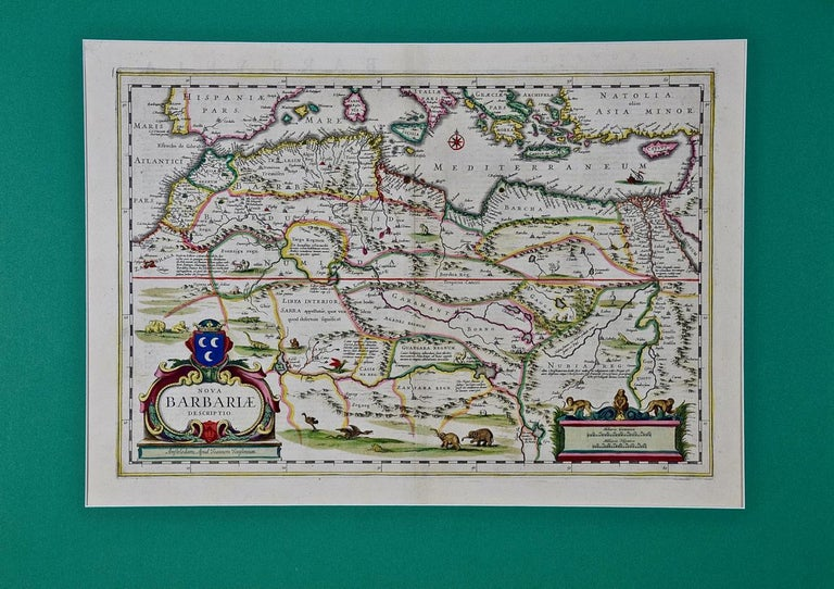 This original attractive 17th century hand-colored map of North Africa entitled