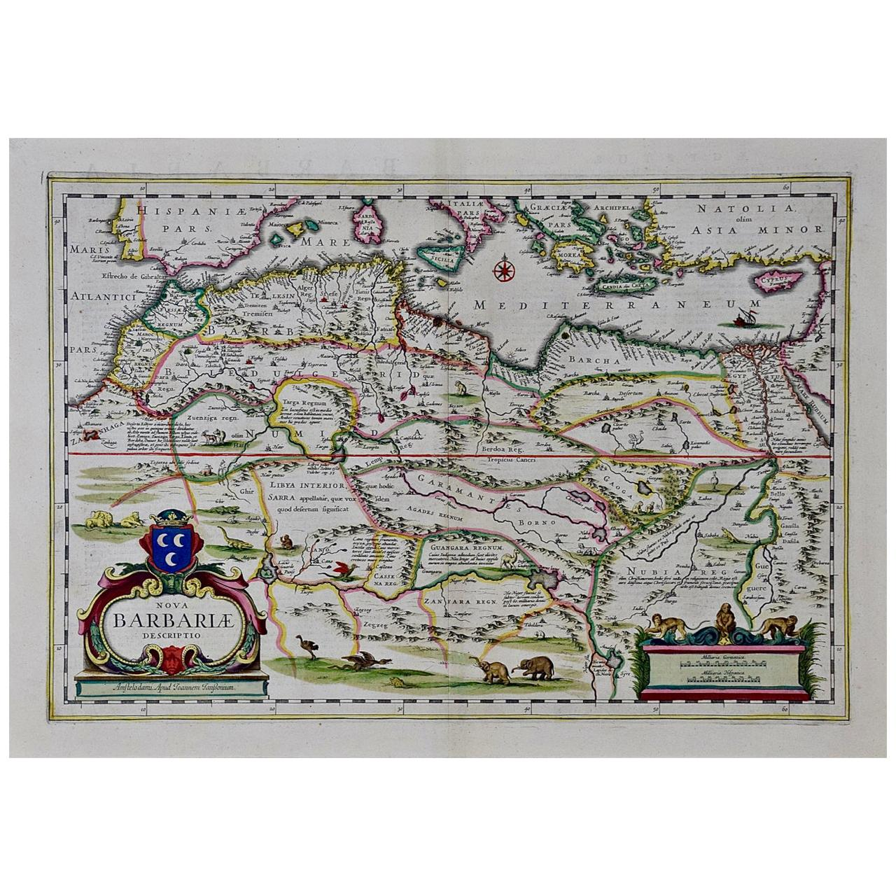 """""""Nova Barbariae Descriptio"""", a 17th Century Hand-Colored Map of North Africa"""