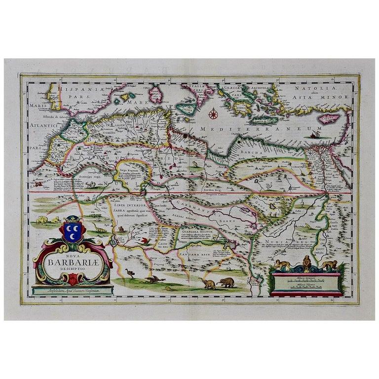 """""""Nova Barbariae Descriptio"""", a 17th Century Hand-Colored Map of North Africa For Sale"""