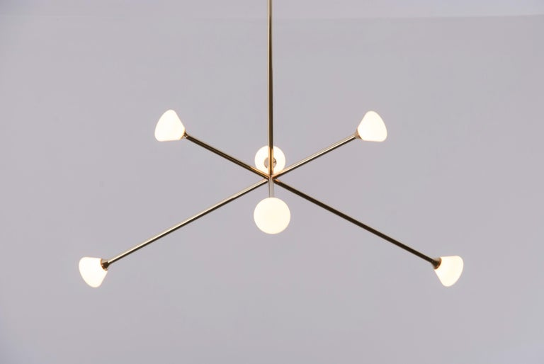 American Nova Chandelier, Contemporary Branching Brass Modern LED Light Fixture For Sale