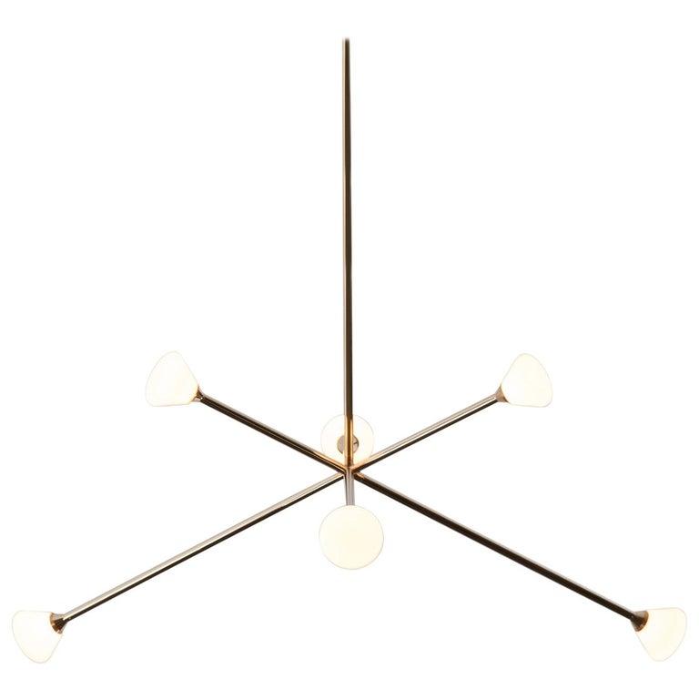Nova Chandelier, Contemporary Branching Brass Modern LED Light Fixture For Sale