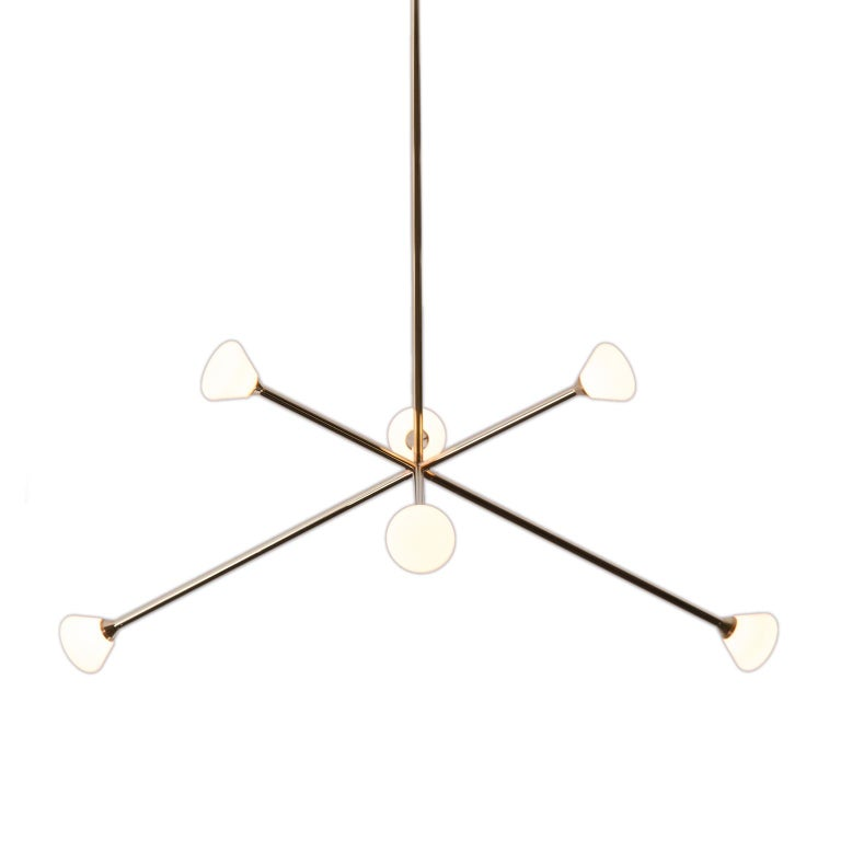 Nova Chandelier, Contemporary Branching Brass Modern LED Light Fixture For Sale