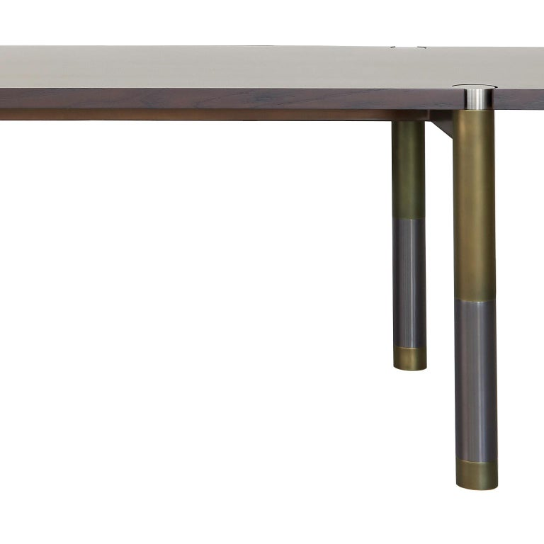 Brushed Nova Round Marble Dining Table by AVRAM RUSU STUDIO For Sale