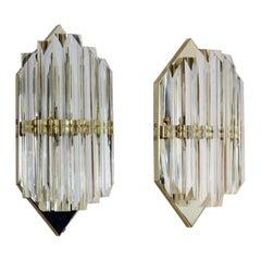 Novaresi Brass and Murano Glass Hexagon Sconce, Italy