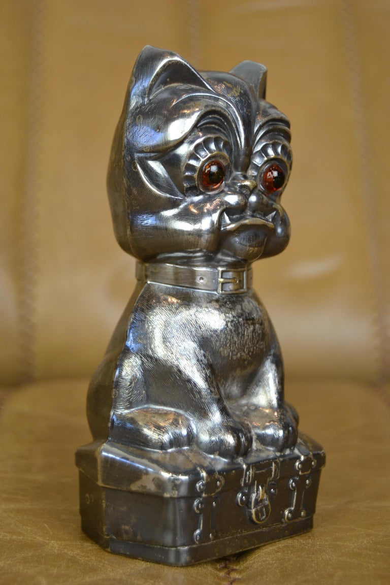 Novelty Antique Silvered French Bulldog Money Box, Germany, 1920s For Sale 6