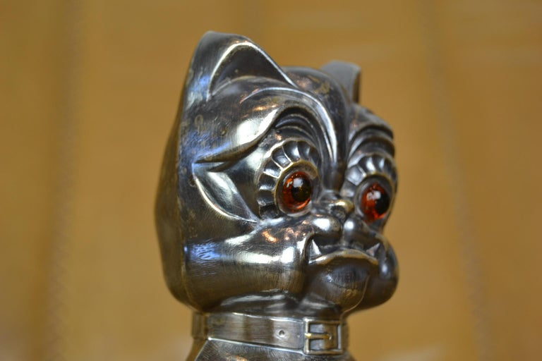 Novelty Antique Silvered French Bulldog Money Box, Germany, 1920s For Sale 7