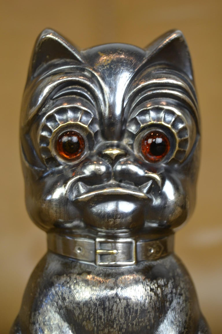 Novelty Antique Silvered French Bulldog Money Box, Germany, 1920s For Sale 8