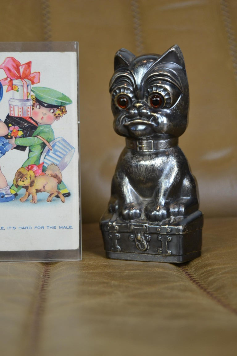 Novelty Antique Silvered French Bulldog Money Box, Germany, 1920s For Sale 11