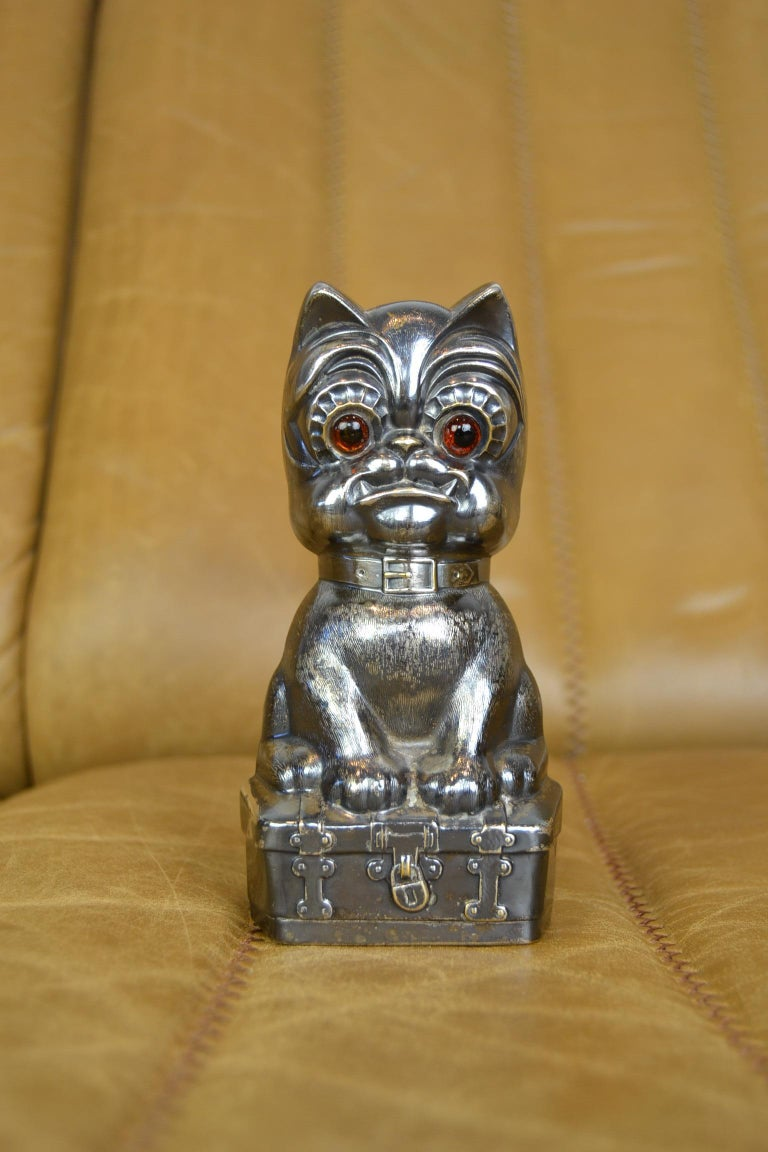 Novelty Antique Silvered French Bulldog Money Box, Germany, 1920s For Sale 12