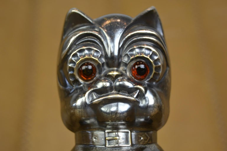 Novelty Antique Silvered French Bulldog Money Box, Germany, 1920s For Sale 13