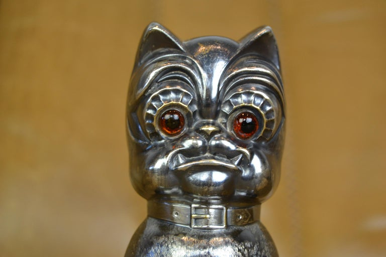 Novelty antique silvered French bulldog money box - money bank, made in Germany, circa 1920s Stunning and rare German figural silver plated bulldog penny bank - cashbox - piggy bank - moneybox - with lovely expression.  From the Art Deco - Art
