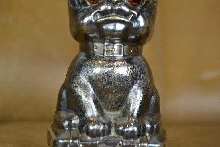Art Deco Novelty Antique Silvered French Bulldog Money Box, Germany, 1920s For Sale