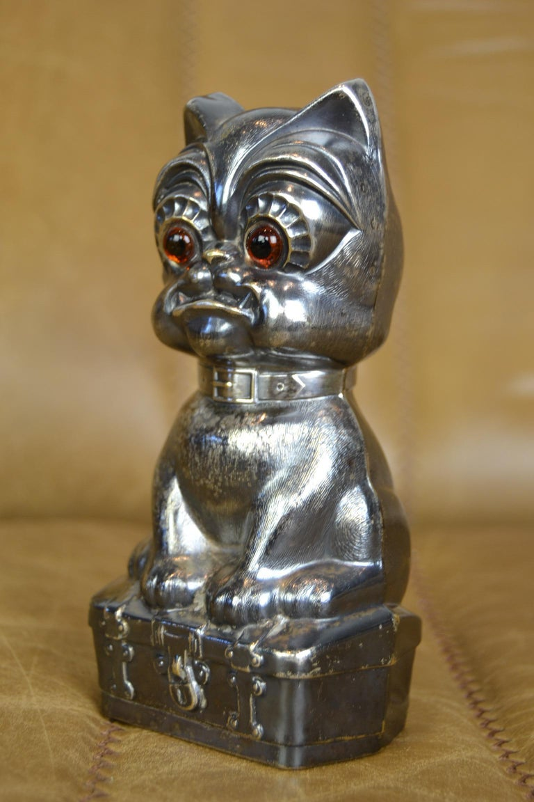 20th Century Novelty Antique Silvered French Bulldog Money Box, Germany, 1920s For Sale