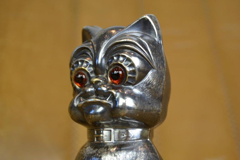 Silver Plate Novelty Antique Silvered French Bulldog Money Box, Germany, 1920s For Sale