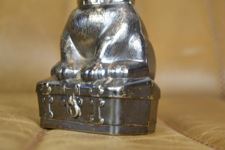 Novelty Antique Silvered French Bulldog Money Box, Germany, 1920s For Sale 1
