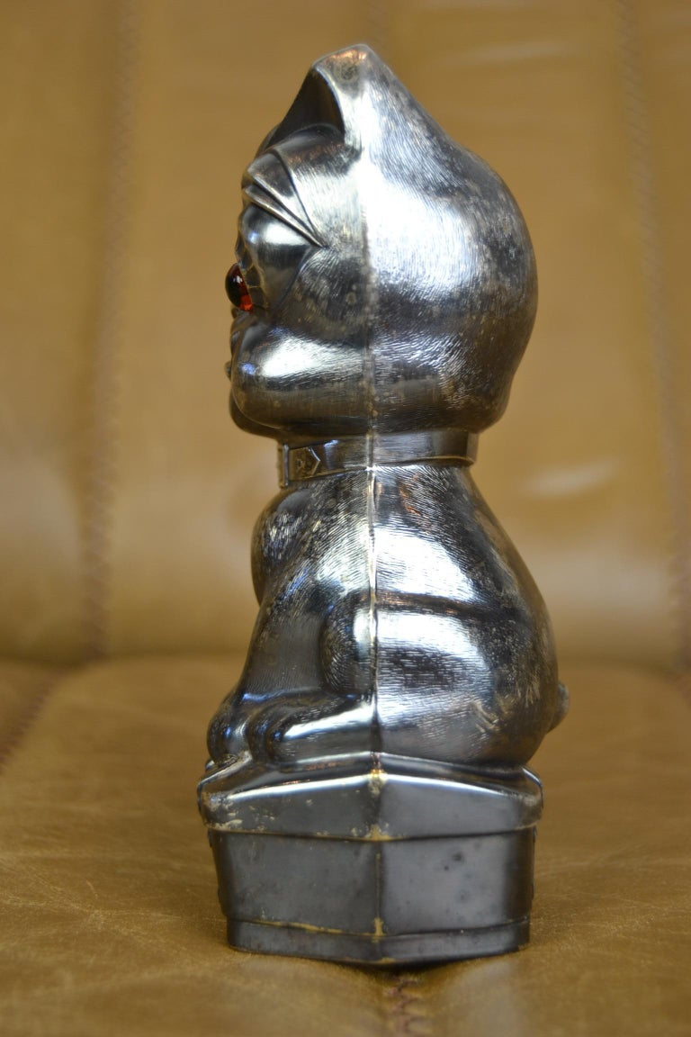 Novelty Antique Silvered French Bulldog Money Box, Germany, 1920s For Sale 2
