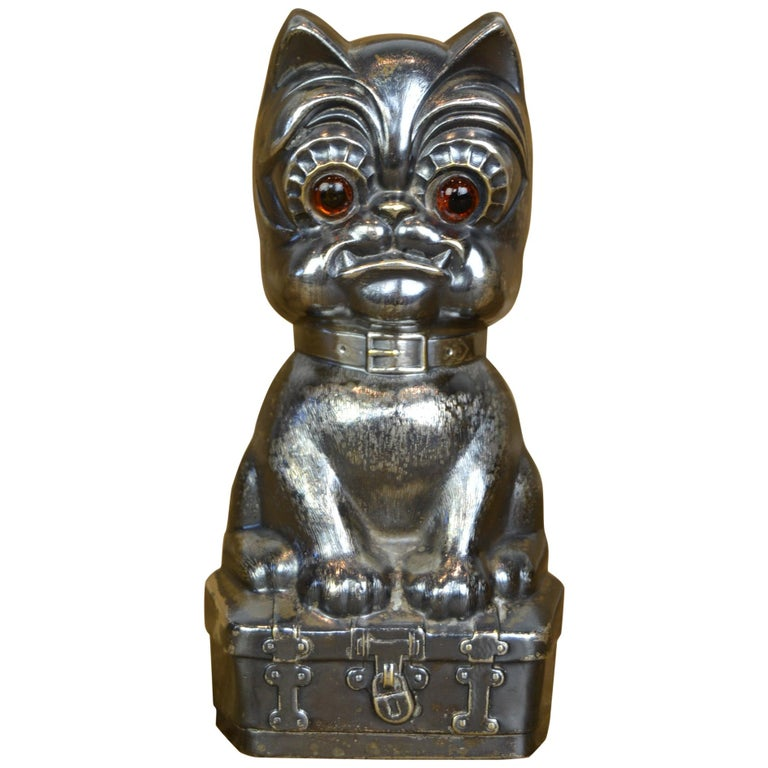 Novelty Antique Silvered French Bulldog Money Box, Germany, 1920s For Sale